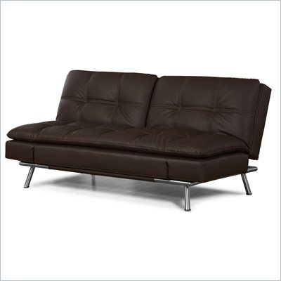 Lifestyle Solutions Matrix Convertible Sofa in Dark Brown Faux Leather