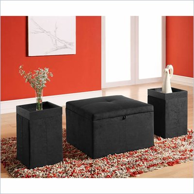 Lifestyle Solutions Quebec Storage Ottoman with 2 End Tables in Black