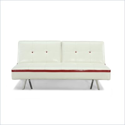 Lifestyle Solutions Costa Mesa Convertible Sofa in Ivory and Red