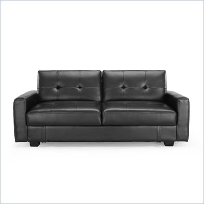 Lifestyle Solutions Signature Juliet Convertible Sofa in Black Faux Leather