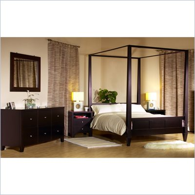 Lifestyle Solutions Wilshire Platform Bed 4 Piece Bedroom Set in Cappuccino
