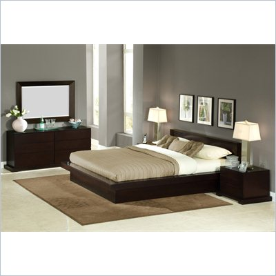 Lifestyle Solutions Zurich Wood Platform Bed in Cappuccino 3 Piece Bedroom Set