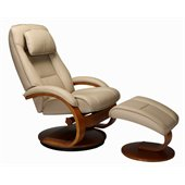 Mac Motion Chairs Oslo Recliner and Ottoman Set in Cobblestone Leather