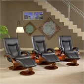 Mac Motion Chairs Oslo 3 Piece Recliner Set in Black Leather