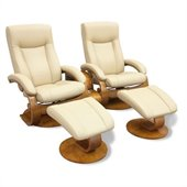 Mac Motion Chairs Oslo 2 Piece Recliner Chair Set in Cobblestone Leather