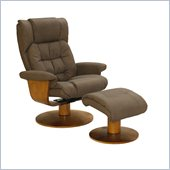 Mac Motion Swivel Recliner Chair and Ottoman in Chocolate Bonded Leather