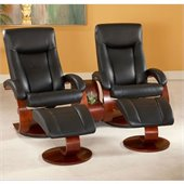 Mac Motion Double Merlot Swivel Recliner Set in Black Leather