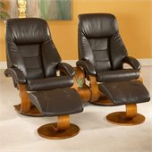Mac Motion Double Walnut Swivel Recliner Chair Set in Espresso Leather