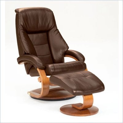 Mac Motion Walnut Swivel Recliner Chair and Ottoman in Espresso Leather