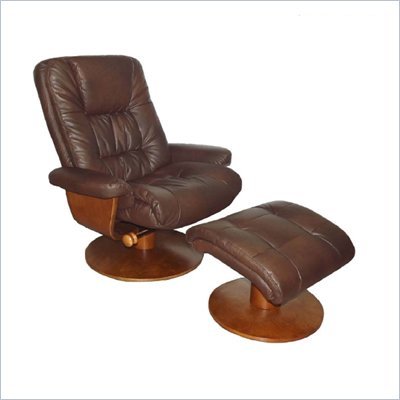 Mac Motion Walnut Swivel Recliner and Ottoman in Palace Bonded Leather