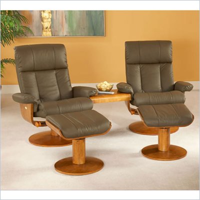 Mac Motion Double Walnut Swivel Recliner Set in Dark Brown Leather