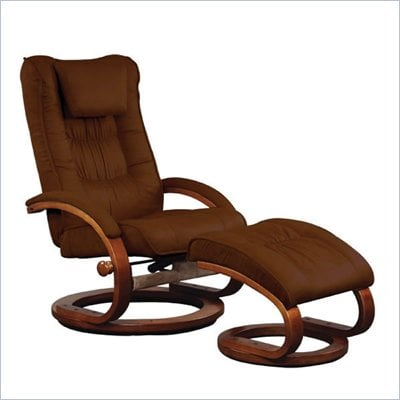 Mac Motion Chairs Recliner and Ottoman Set in Chocolate Microfiber