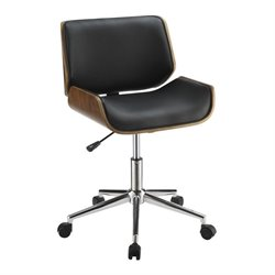 Coaster Contemporary Faux Leather Office Chair in Black and Chrome