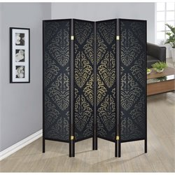 Coaster 4 Panel Folding Screen in Black and Gold