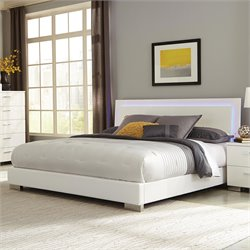 Coaster Felicity Queen Lighting Bed in High Gloss White