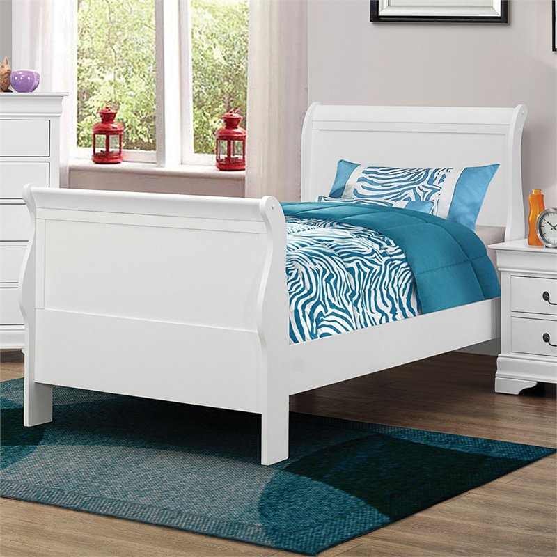 Coaster Louis Phillipe Twin Sleigh Bed in White