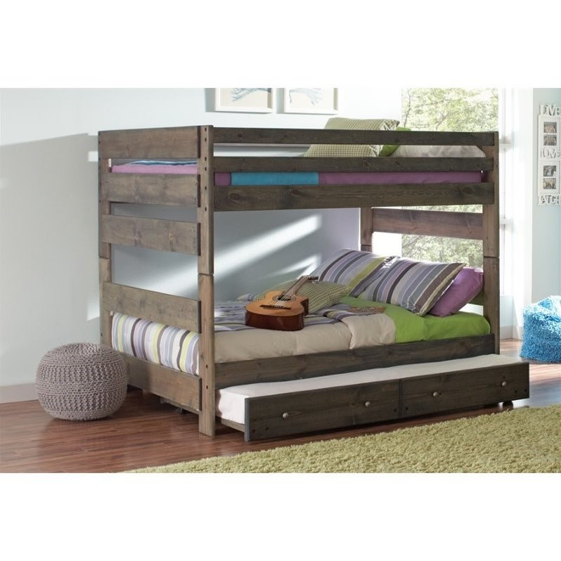 Coaster Wrangle Hill Full over Full Bunk Bed with Trundle in Gray