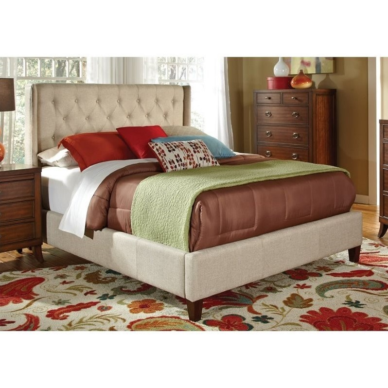 Coaster Owen Upholstered California King Bed in Beige in Beige