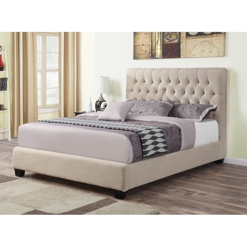 Coaster Chloe Upholstered Full Bed in Oatmeal