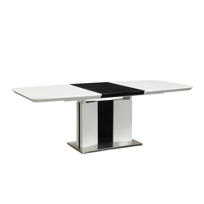 Coaster Broderick Contemporary Dining Table in White and Chrome