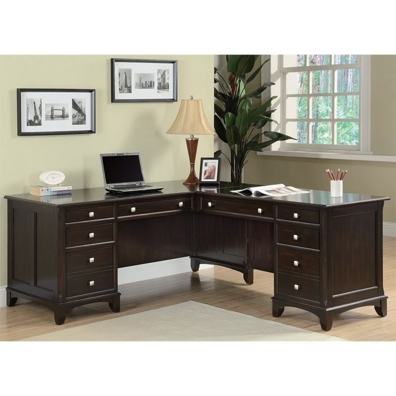 Coaster Garson 8 Drawer L Shaped Computer Desk in Cappuccino