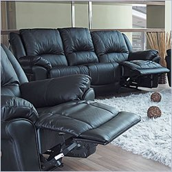 Coaster Furniture Promenade Black Leather-Match Vinyl Recliner Sofa