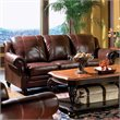 Princeton 3 Piece Leather Sofa Living Room Set in Brown