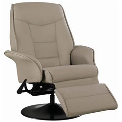 Coaster Furniture Faux Leather Swivel Recliner Chair in Bone Finish