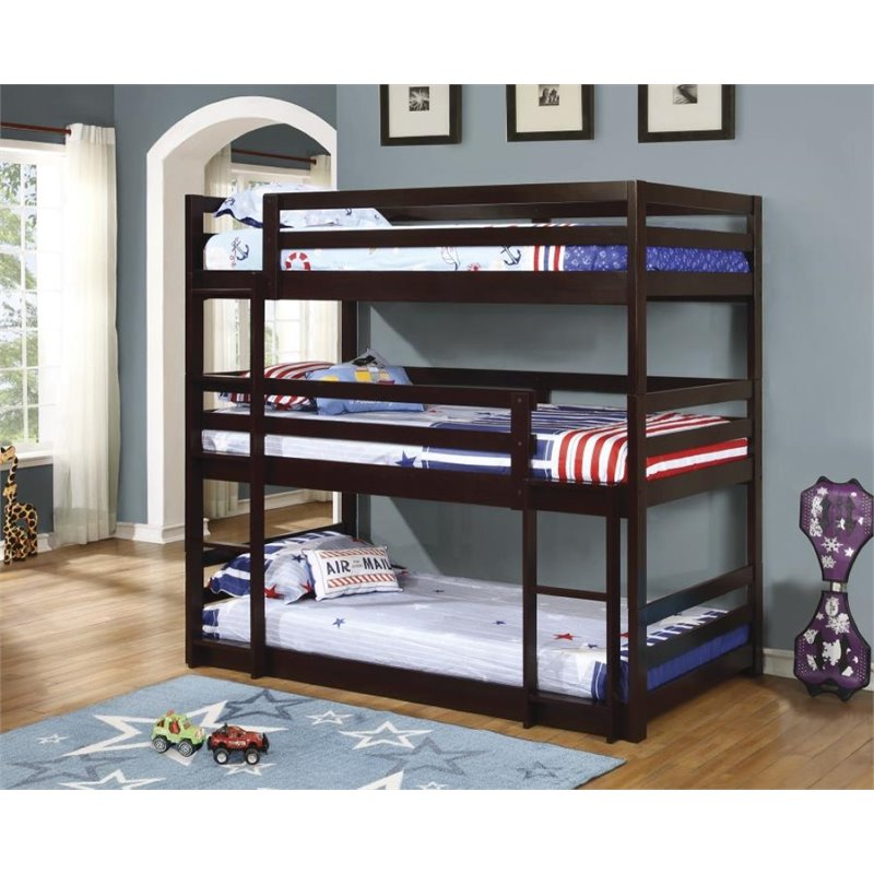 Coaster Triple Layer Twin Bunk Bed in Cappuccino