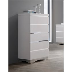 Coaster Alessandro 5 Drawer Chest in Glossy White