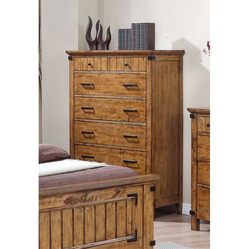 Coaster Brenner 7 Drawer Chest in Natural and Honey