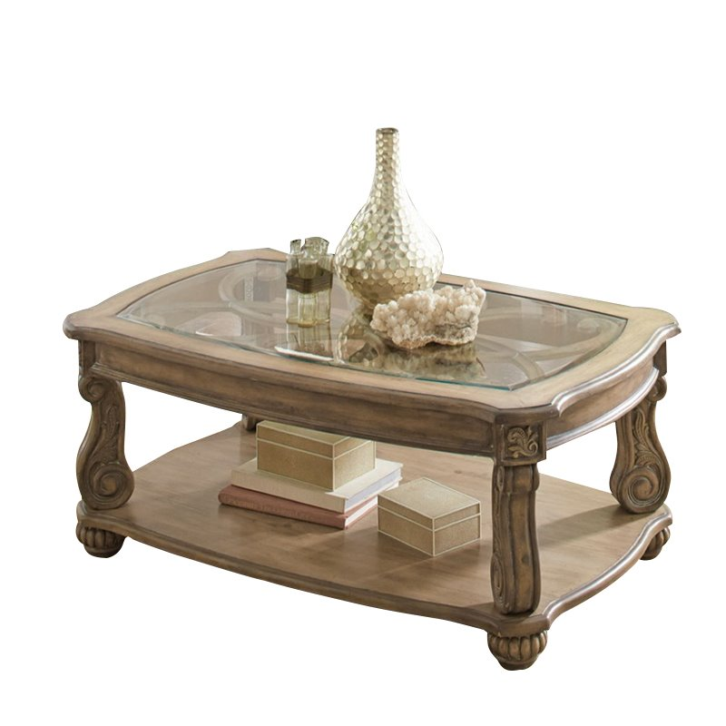 Coaster Glass Top Coffee Table in Antique Linen