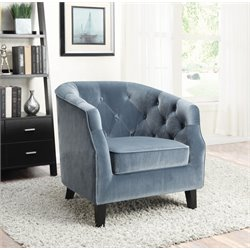 Coaster Velvet Upholstered Tufted Accent Chair in Dusty Blue