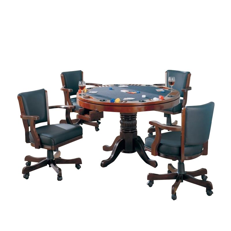 Coaster Mitchell 5 Piece 3-in-1 Game Table Set in Cherry 1601874