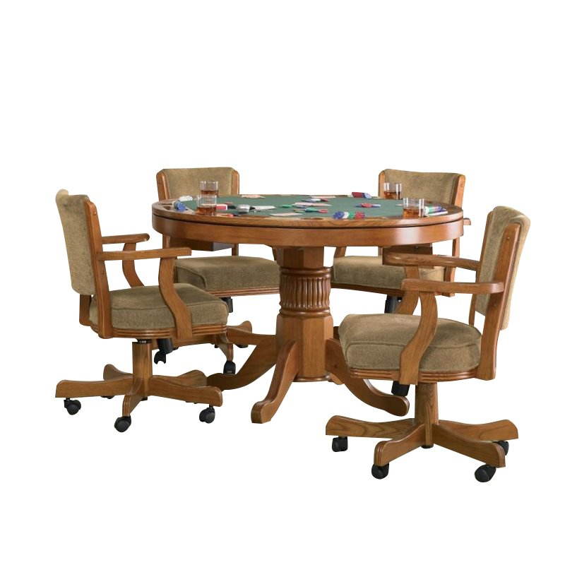 Coaster Mitchell 5 Piece 3-in-1 Game Table Set in Oak 1601881