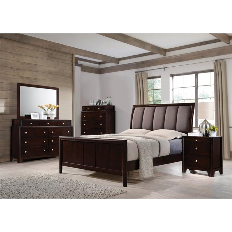 Coaster Maddison 5 Piece Upholstered Queen Bedroom Set in Taupe Gray