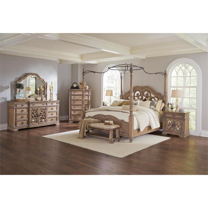 Coaster Ilana 4 Piece King Mirrored Canopy Bedroom Set in Cream