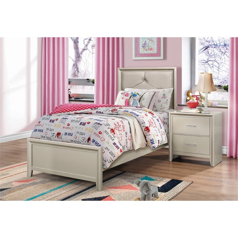 Coaster Lana 4 Piece Upholstered Twin Bedroom Set in Silver
