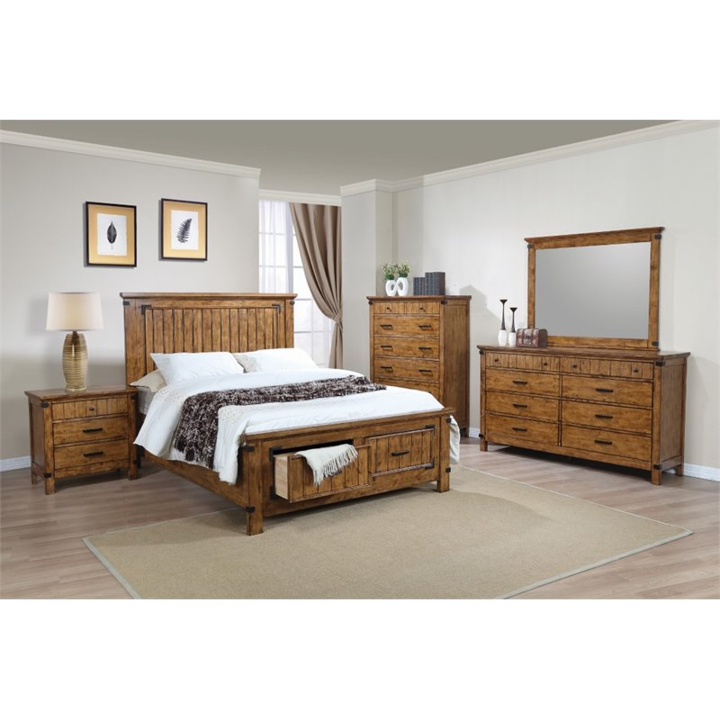 Coaster Brenner 5 Piece King Storage Panel Bedroom Set in Honey