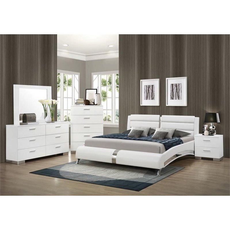 Coaster Felicity 5 Piece Faux Leather California King Bedroom Set