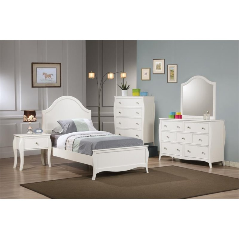 Coaster Pepper 5 Piece Twin Panel Bedroom Set in White