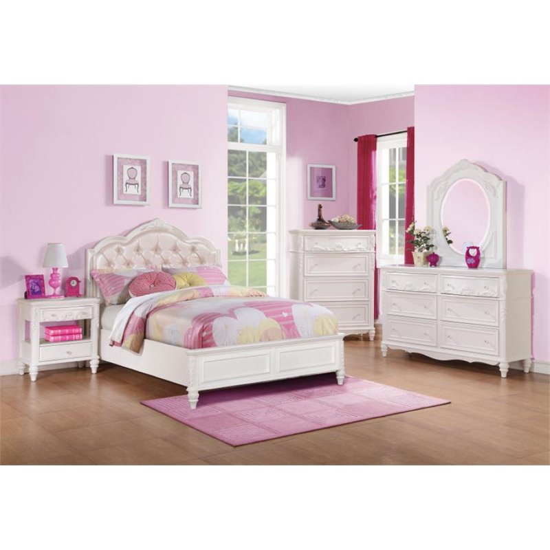 Coaster Caroline 4 Piece Tufted Twin Diamond Bedroom Set in White