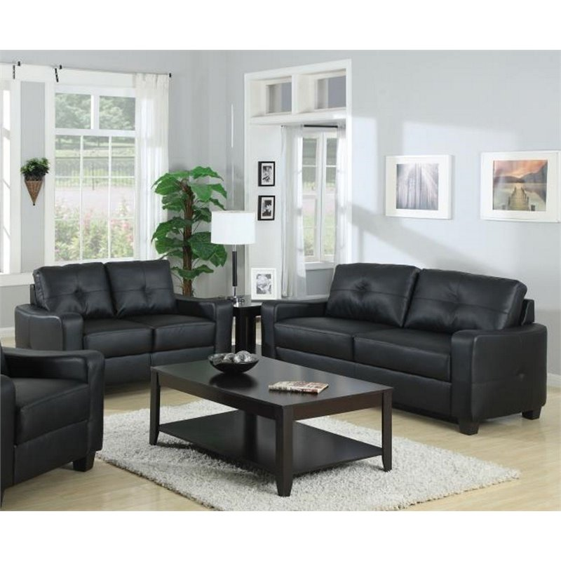 Coaster Jasmine 2 Piece Leather Sofa Set in Black
