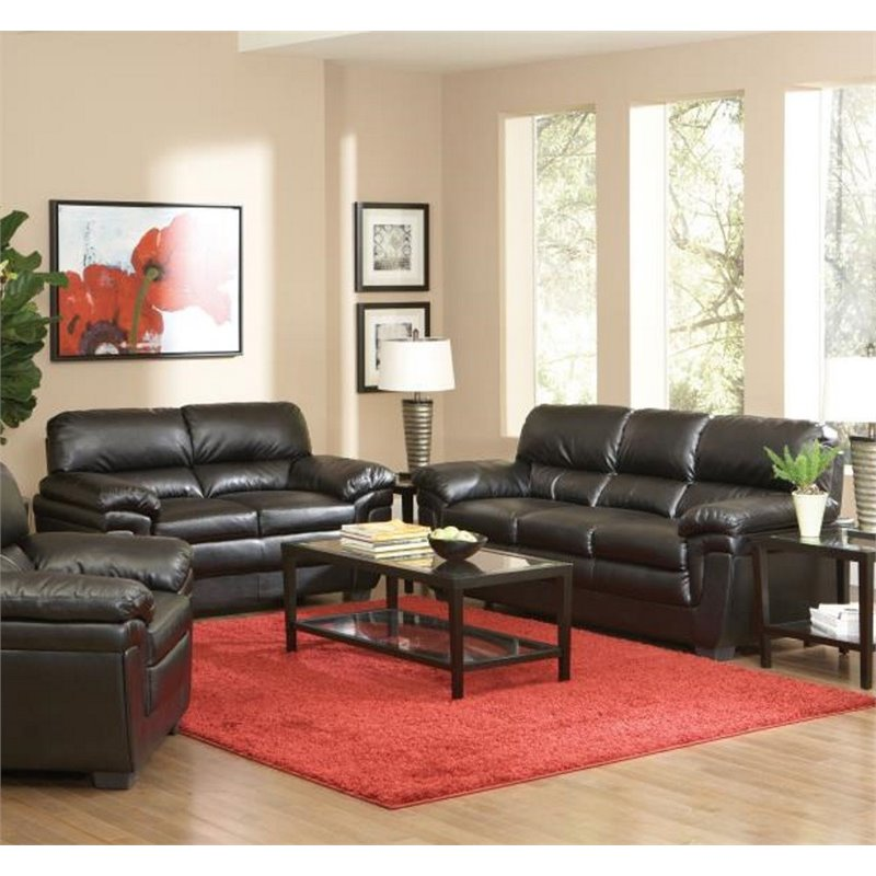 Coaster Fenmore 2 Piece Casual Split Back Leather Sofa Set in Black