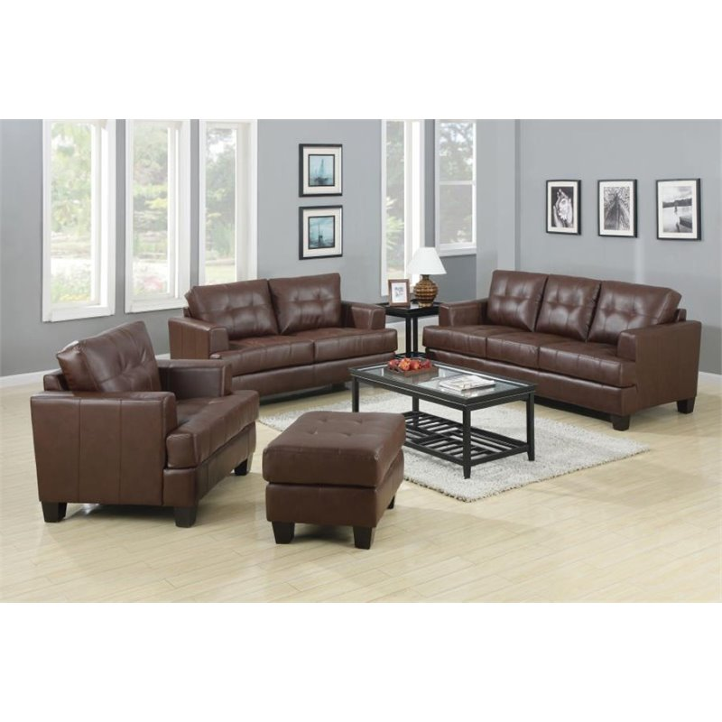 Coaster Samuel 3 Piece Faux Leather Stationary Sofa Set in Dark Brown