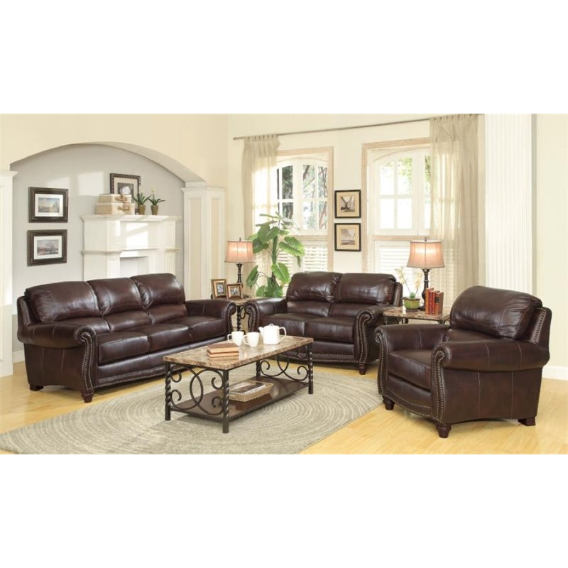 Coaster Lockhart 3 Piece Leather Sofa Set in Burgundy Brown