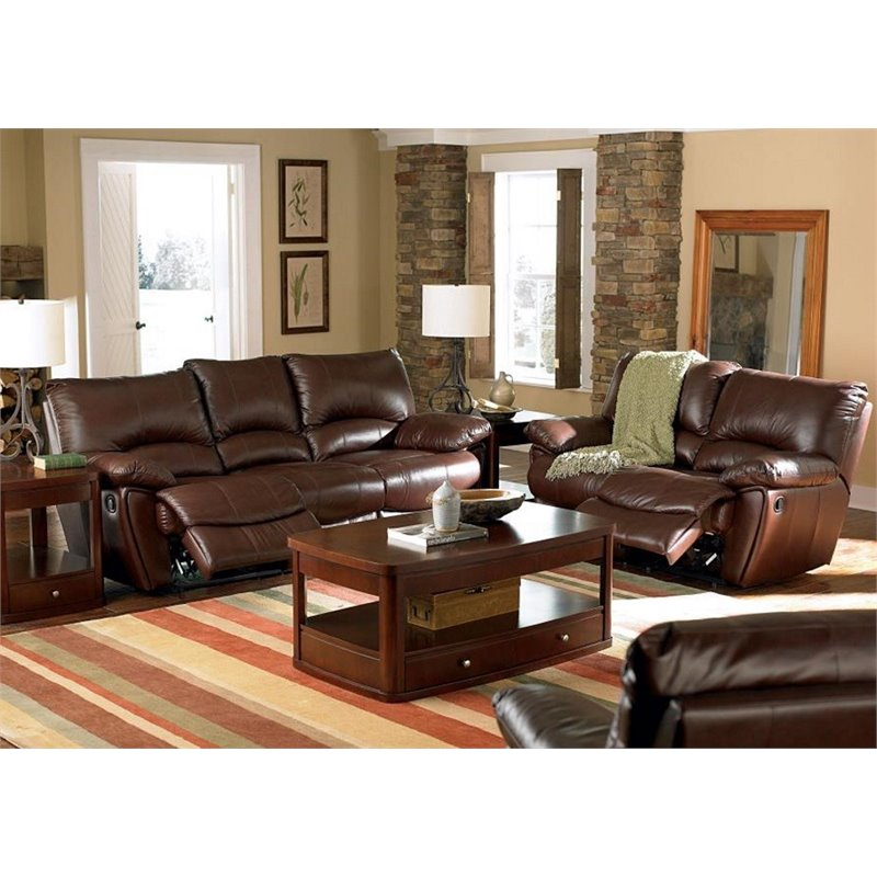 Coaster 2 Piece Leather Reclining Sofa Set in Brown