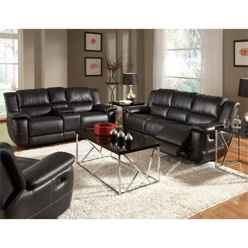 Coaster Lee 2 Piece Leather Reclining Sofa Set in Black