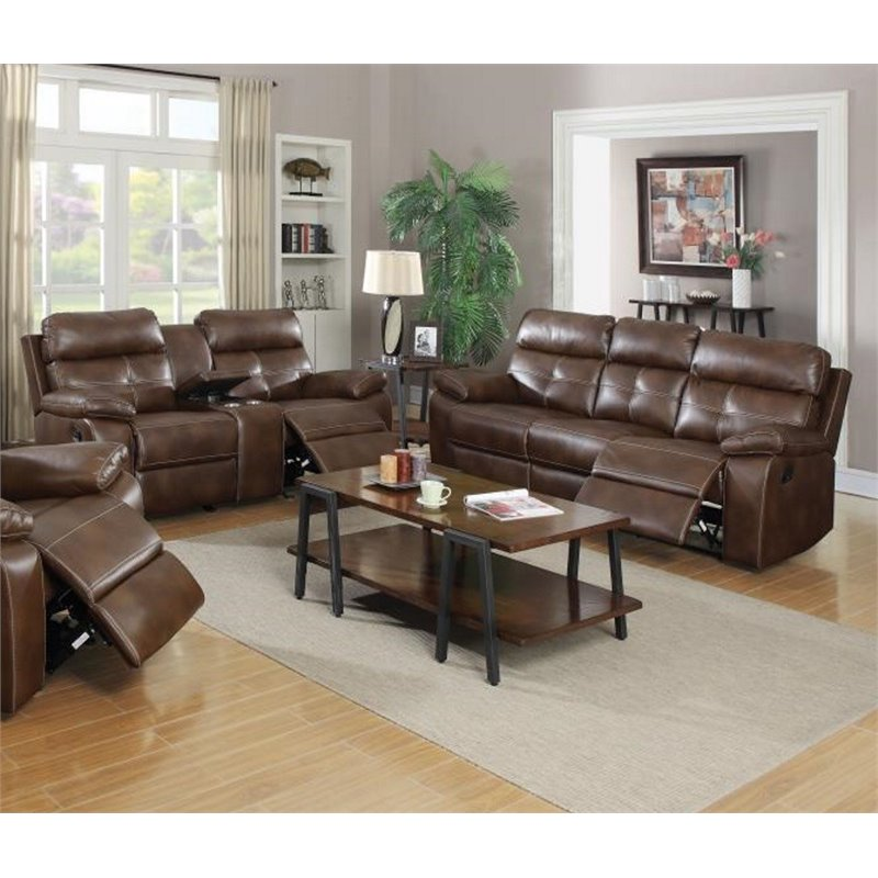 Coaster Damiano 2 Piece Faux Leather Reclining Sofa Set in Brown