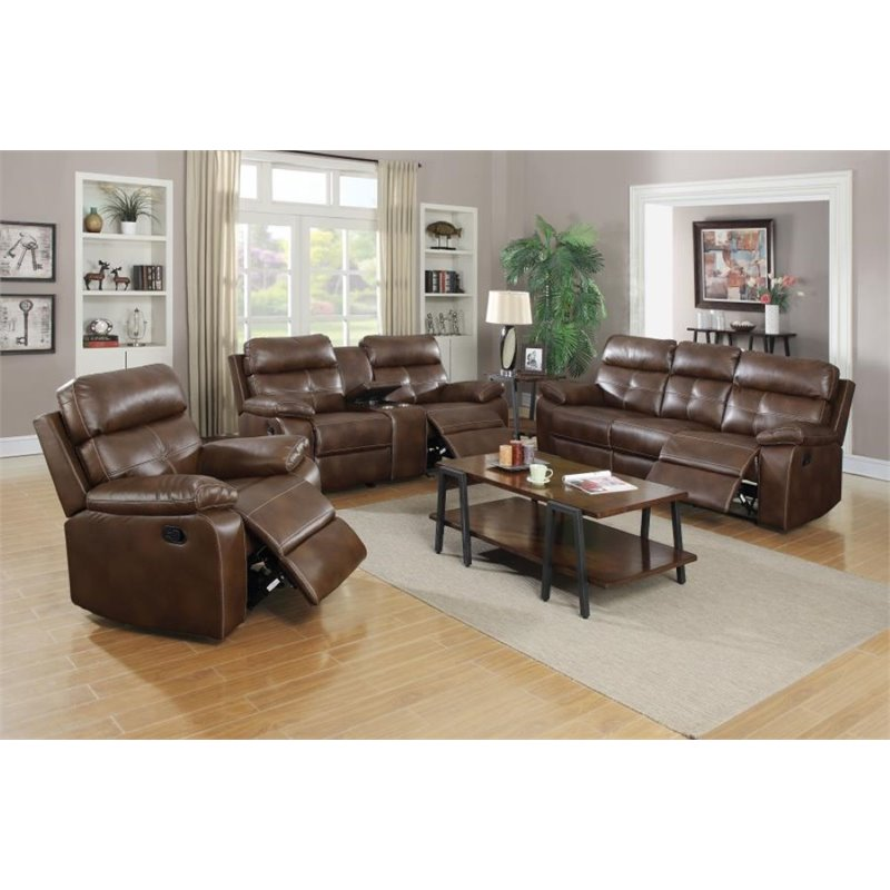 Coaster Damiano 3 Piece Faux Leather Reclining Sofa Set in Brown